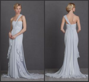 One-Shoulder Christmas Evening Dress Baby Blue (LP011)
