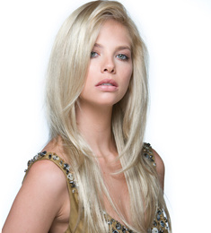 Silky Straight Blonde Color Synthetic Hair Machine Made Wig