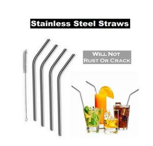 Stainless Steel Straws Set Including 4 Straws and 1 Free Cleaning Brush