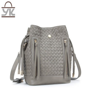 Trendy Style PU Leather Bucket Woven Ladies Handbag pictures & photos