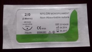 Medical Supply, Nylon Surgical Suture Synthetic Non Absorbable Suture USP5/0 pictures & photos