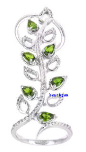 New Fashion Green Cubic Zirconia 925 Sterling Ring (MR40025)