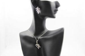 Leaf Shaped Full Diamond Copper Necklace (NJB_0134)