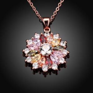 Foreign Trade Fashion Cascading of Flowers Colorful Zircon Charm Pendant Necklace pictures & photos