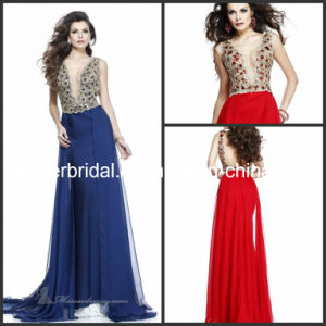 Plunging V-Neck Beaded Prom Celebrity Gowns Jewelry Party Evening Dresses E13194 pictures & photos