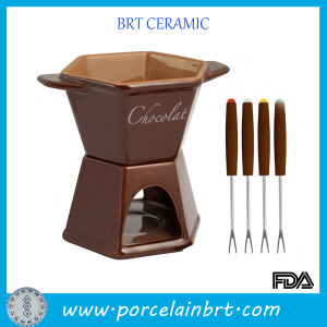 Ceramic Brown Chocolate Fondue Set with Forks pictures & photos