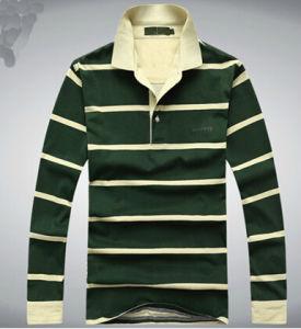 Men′s Fashion Stripy Long Sleeve Polo T-Shirt