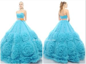 New Sky Blue Strapless Empire Tulle Ball Gowns Yao64 pictures & photos