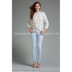 Women′s Cotton Printing Polo Neck Top