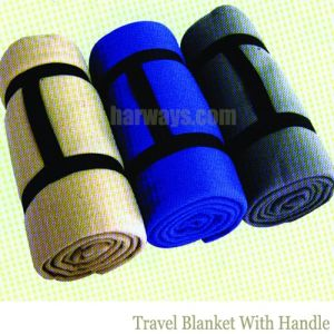 Polar Fleece Travel Blanket with Handle Printed