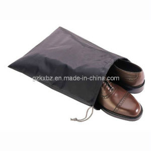 Black Non Woven Polypropylene Drawstring Bag for Shoes (KX-JS185)