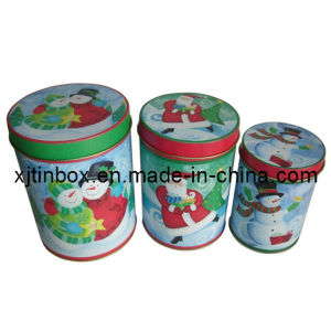 Gift Set of 3 Round Tin Metal Box with Slip Cover, Gift Tin Box Set for Christmas, Round Tin Box Set for Gift (XJ-024Y)