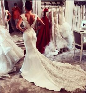 Free Shipping Wedding Dress Celebrity Red Carpet Dressese Mermaid Sleeveless Sweep Train Lace V