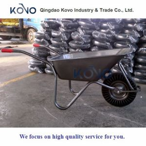 Black Wheelbarrow with Solid Tyre for Ghana pictures & photos