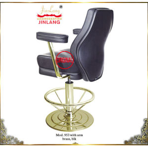 Casino Chair 953 With Armrest Brass Footrest Blk Leather