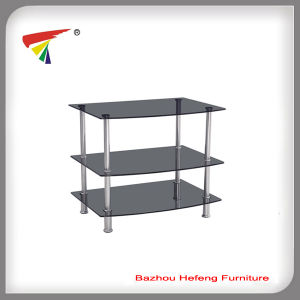 Glass TV Stand with Stainless Tube Furniture (TV099) pictures & photos