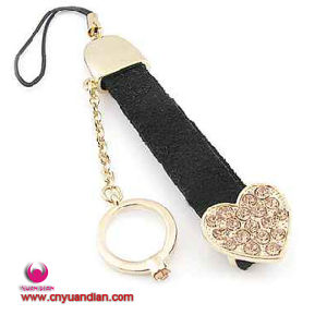 Fashion Glass Stone Heart Leather Mobile Phone Charms