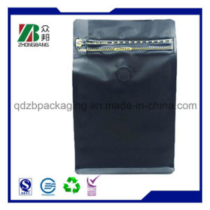 Flat Bottom Ziplock Aluminium Foil Coffee Packaging Bag with Valve pictures & photos