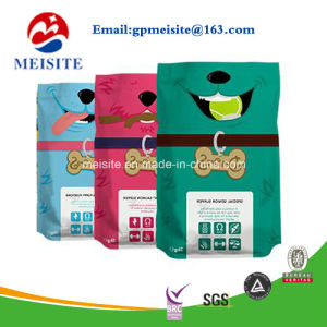 Custom Printed Flat Bottom Side Gusset Stand up Pouch/Plastic Dog Pet Food Packaging Bag with Zipper pictures & photos