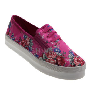 Subshrubby Peony Flower Injection Canvas Shoes for Women