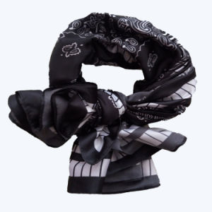 Lady Fashion Printed Satin Silk Magic Black Scarf pictures & photos