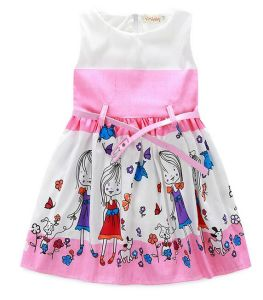 Fashion Girl Dress with Lovly Print in Children Clothes