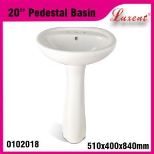 Low Price Ceramic Dinner Room Solid Surface Hand Wash Pedestal Basin pictures & photos