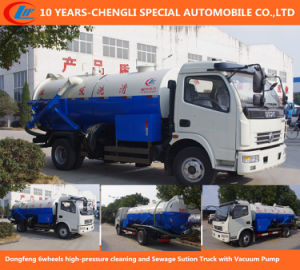 Dongfeng 6wheels High-Pressure Cleaning, Sewage Sution Truck with Vacuum Pump pictures & photos