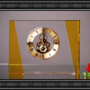 Rectangular Crystal Glass Clock Craft for Home Decoration pictures & photos
