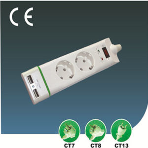 Two Ways European Outlet Extension Socket with USB pictures & photos
