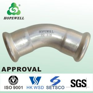 Top Quality Inox Plumbing Sanitary Press Fitting to Replace Rubber Compression Fitting Bi Elbow PVC 3 Way Elbow Picture pictures & photos