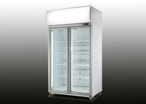 1150L Double Glass Door Upright Beverage Commercial Fridge pictures & photos