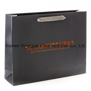 Large Luxury Card Black Matte Laminate Satin Handle Paper Bag pictures & photos