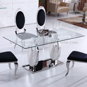 Tempered Glass Dining Table with Metal Base pictures & photos