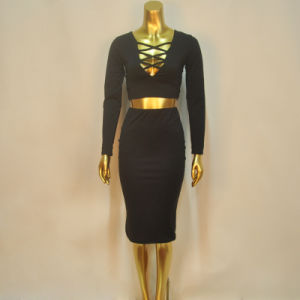 Sex Black Cross in Front Bodycon 2 Piece Bandage Dress pictures & photos
