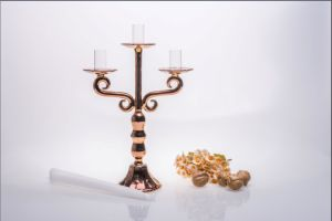 Three Poster Golden Glass Candle Holder for Wedding Decoration pictures & photos