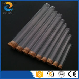 Customized Round Flat Bottom Glass Test Tube with Cork Lid in Different Size