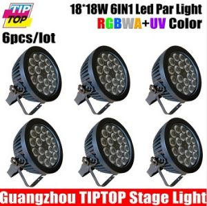 18*18W RGBWA+UV 6in1 LED PAR Light Indoor Aluminum Case No Noise