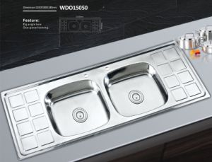 Stainless Steel Sink Double Bowl Double Board -Wdo15050