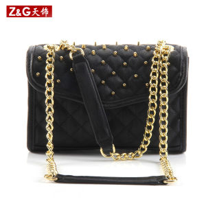 Factory Cheap Pricediamond Quilt and Rivet Lady Designer Leather Handbags (LD-1512) pictures & photos