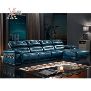 Blue Leather Sofa with Adjustable Headrest (862)