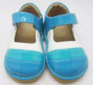 Blue White Stripes Baby Girl Squeaky Shoes Soft Wholesale