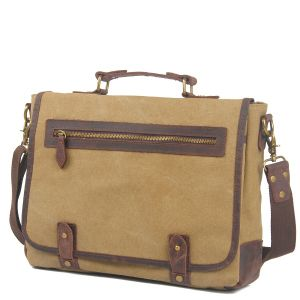 Genuine Leather Cross Body Laptop Messenger Canvas Bag (RS-6915D) pictures & photos