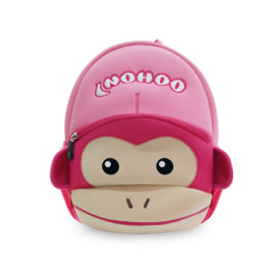 2016 China Supplier Cute Monkey Kids Backpack Pink Children School Bag Neoprene