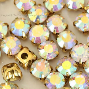 Clear Crystal Ab Sew on Rhinestone in Gold Plating pictures & photos