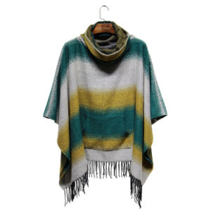 Lady Fashion Striped Acrylic Knitted Winter Fringe Pocket Poncho (YKY4508) pictures & photos