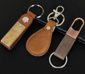 Creative Metal and Leather Key Chain for Advertising and Promotion Gift pictures & photos