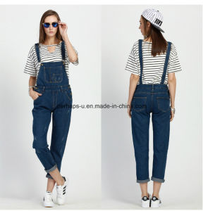 High Quality Sweet Slim Denim Ladies Jeans Overall Women Pants pictures & photos