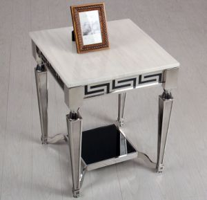 White Marble Coffee Table Set with Stainless Steel Base (CCT-018)