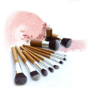 11 PCS Beauty Tools Durable Bamboo Handle Makeup Brush with Linen Bag